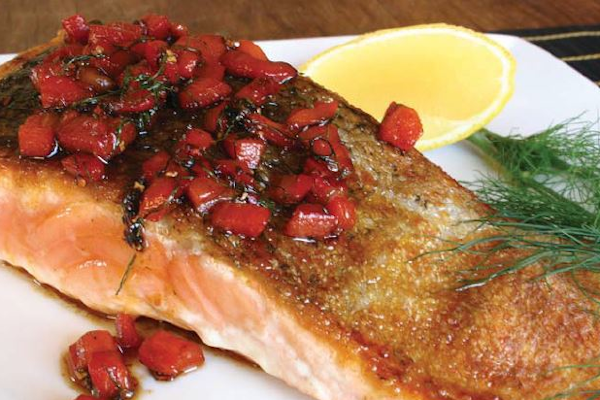 Salmon Fillets with Roasted Capsicum and Butter Sauce